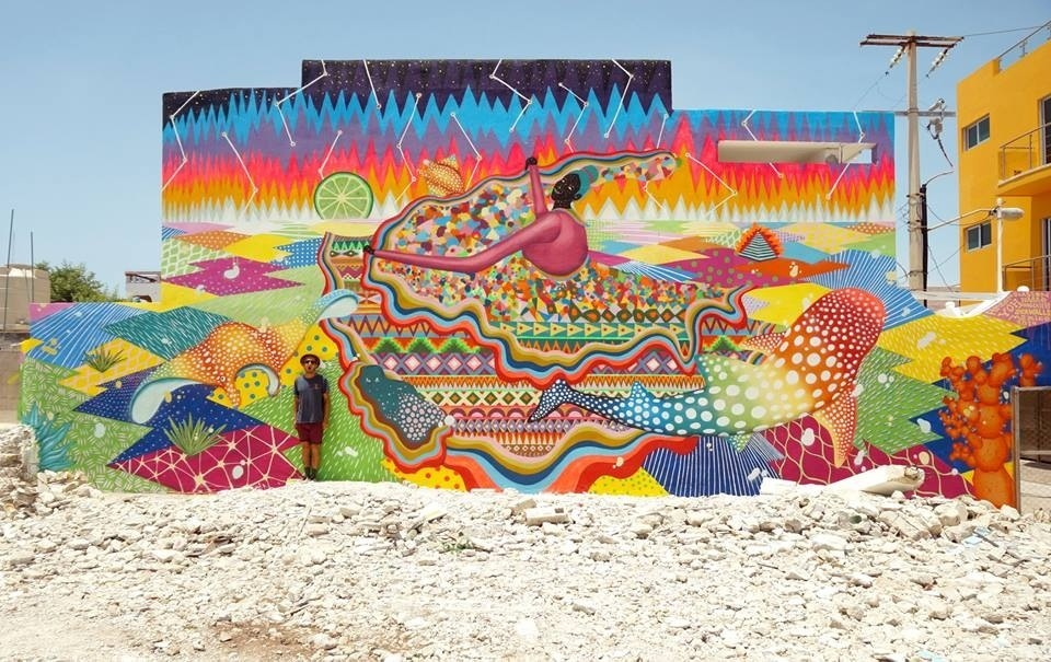 Spectacular mural in Isla Mujeres, Mexico