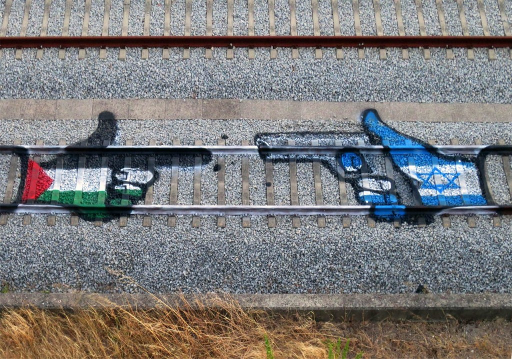 Rail track art by Bordalo II