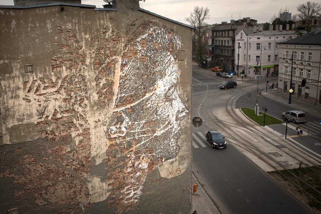 New Wall carving by Vhils, in Poland