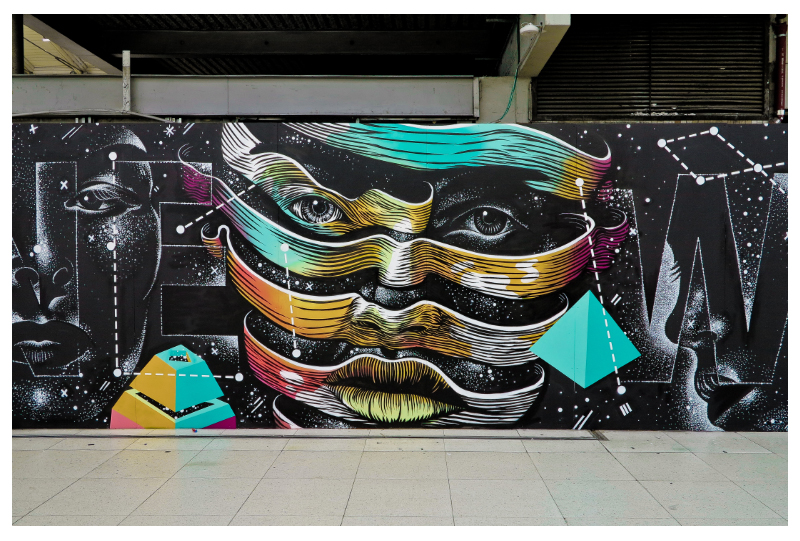 Dourone's third mural at Gare du Nord, Paris