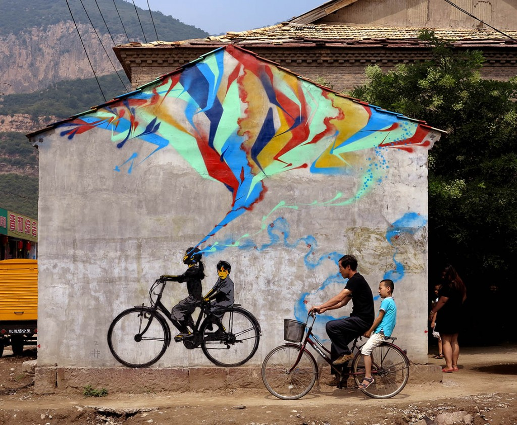 Stinkfish makes new piece in Xucun – China