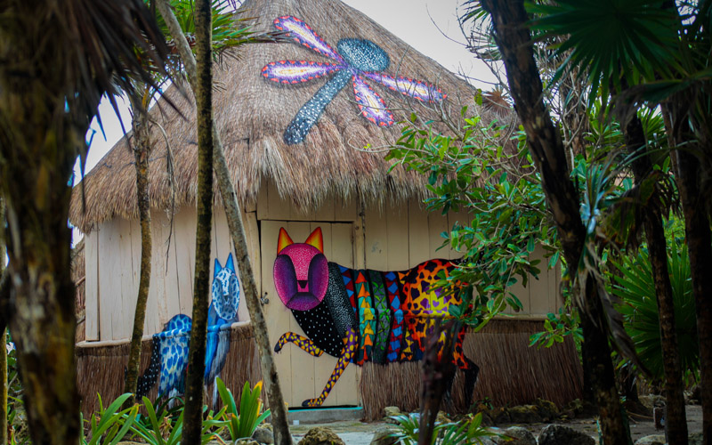 Spaik's art for jungle party in Tulum