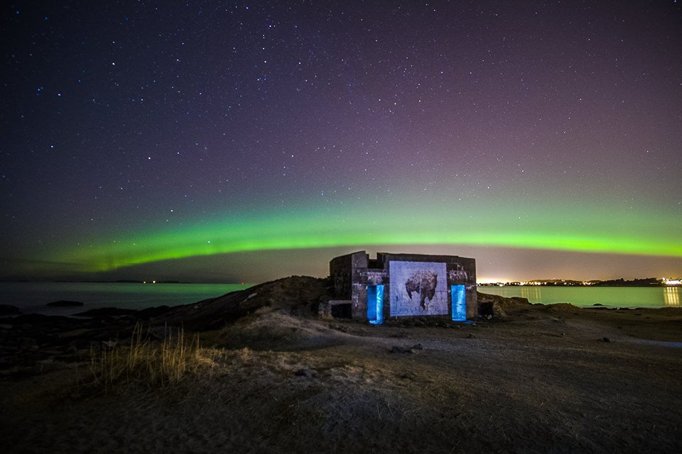 spectacular aurora borealis over the beach and one of Ella & Pitr's works