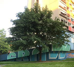 'GROW' wall lettering in Zagreb