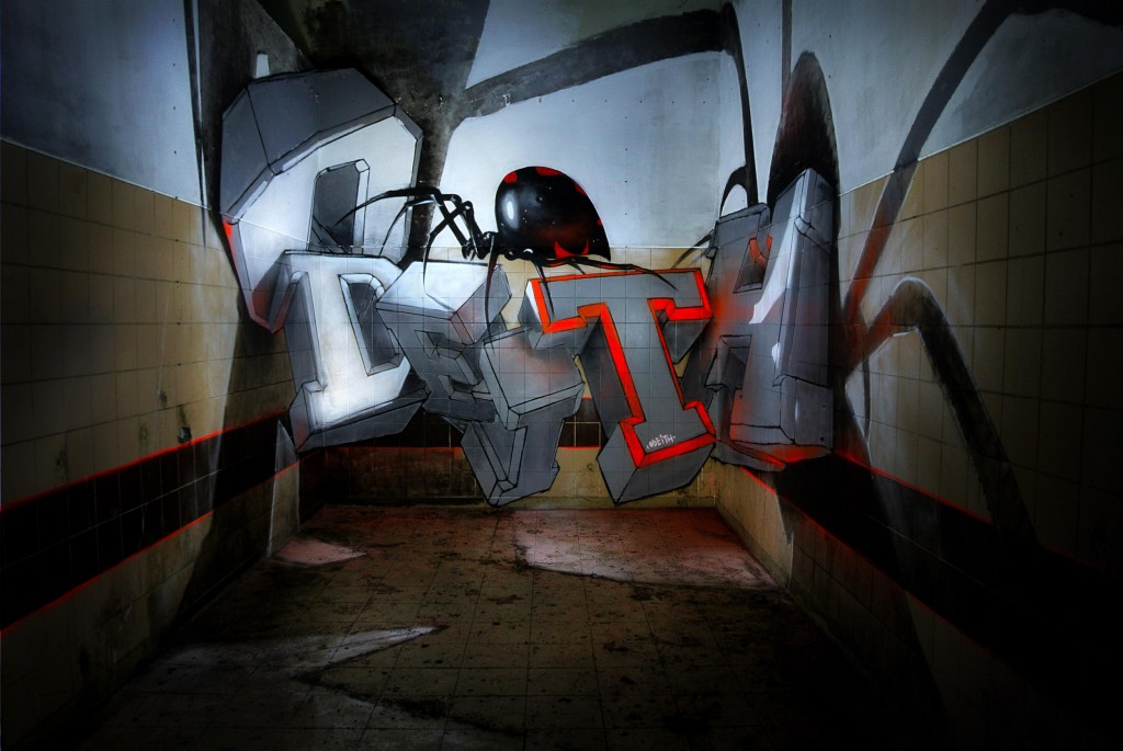 odeith anamorphic 3d white block graffiti letters standing black widow
