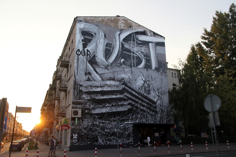 Large stencil mural by Monstfur (PL)