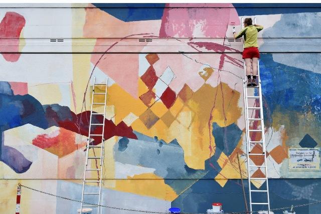 """Wandmalerei: """"Odysseus und die Dialektik der Aufklärung"""", organisiert vom Club Voltaire, Kehl"""