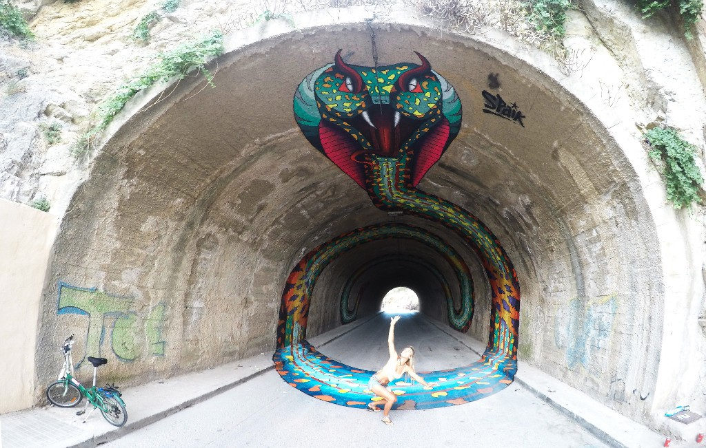 Spaik tunnel piece for Bloop Festival in Ibiza