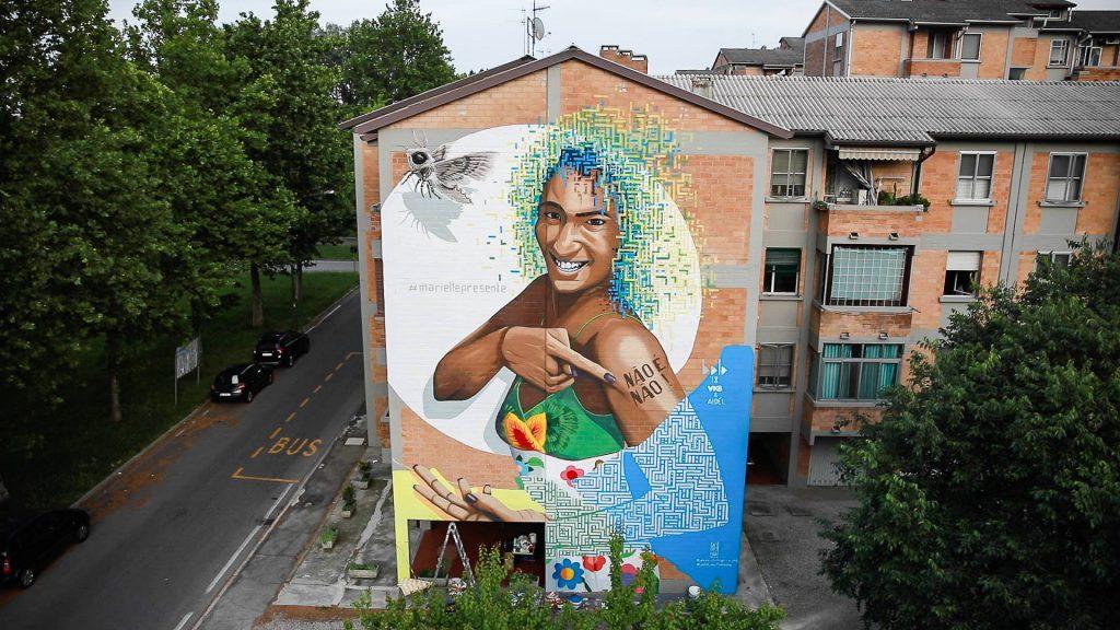 Marelle Franco mural by Alessio Bolognesi