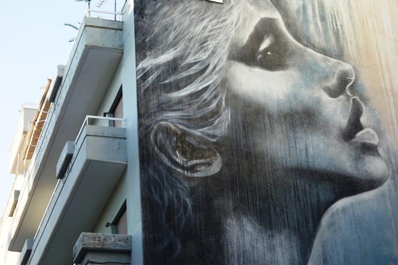 Christina Angelina mural for ArtWalk3 in Patras