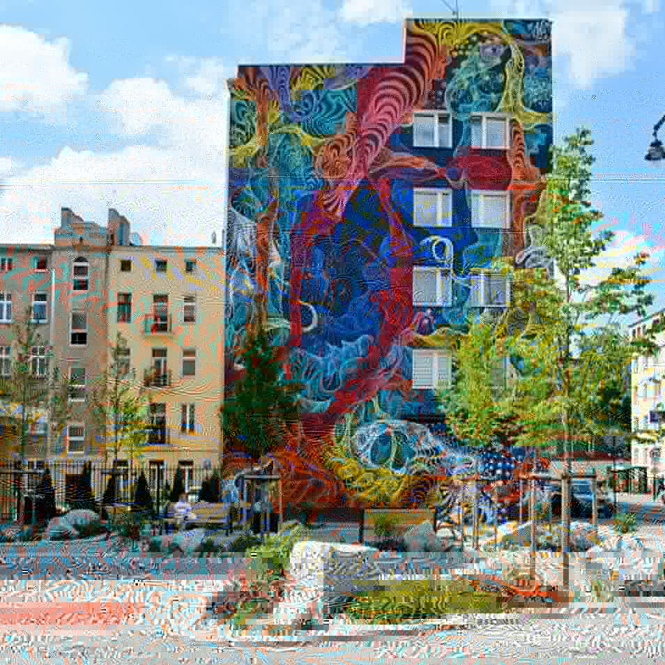 Lodz, Poland, gain a new colorful mural from the artist Awer