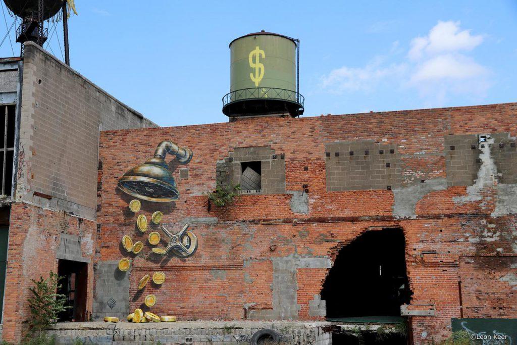 Leon Keer mural in Detroit