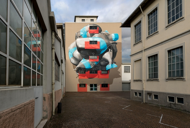 Cluster – Novara mural by NEVERCREW