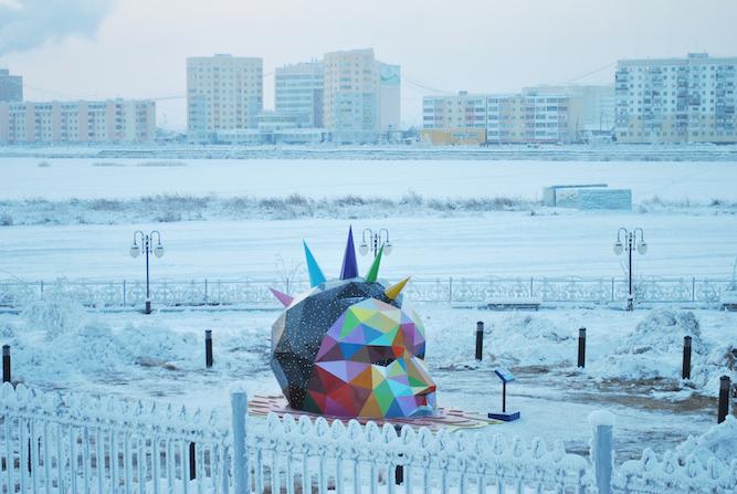 New sculpture by Okuda in Yakutsk