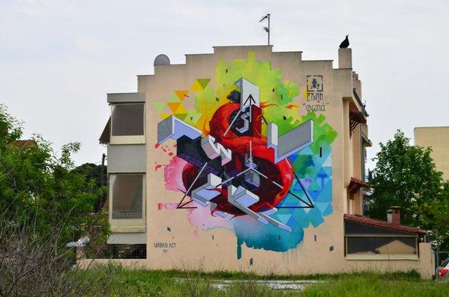 Etnik wall in Mural art Festival in Volos