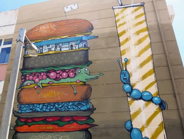 """The XXXL Panta Burger"" mural by Mrfijodor in Athens"