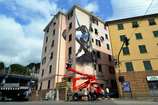 OZMO Mural for the victims of Morandi Bridge tragedy