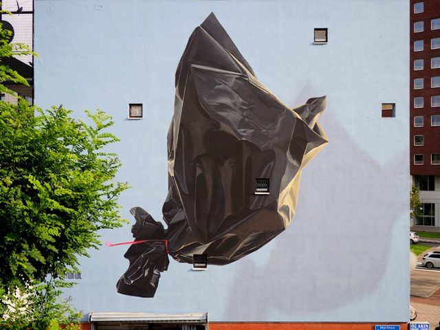 New Mural by Murmure Street Garbage Bird