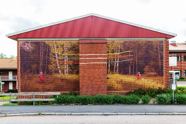 Pat Perry's first mural in Swedish village