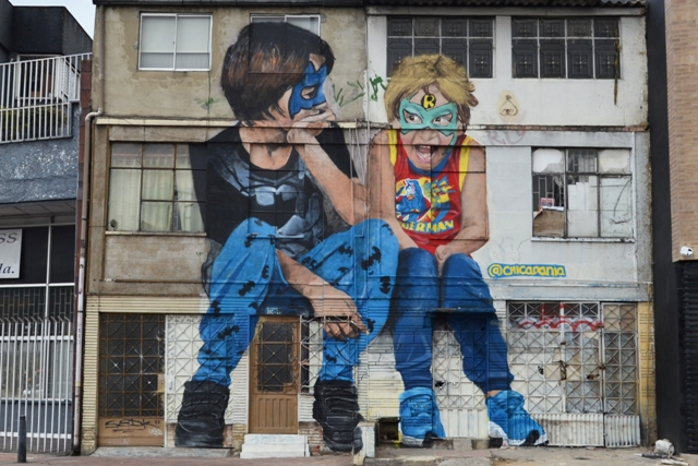 Kids mural in Colombia by Chicadania