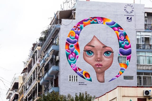 Simoni Fontana & SER mural in Thessaloniki