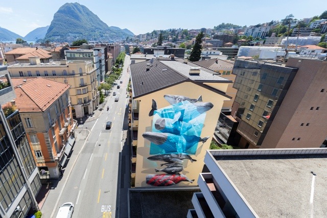 """Close up"" mural by NEVERCREW in Lugano"