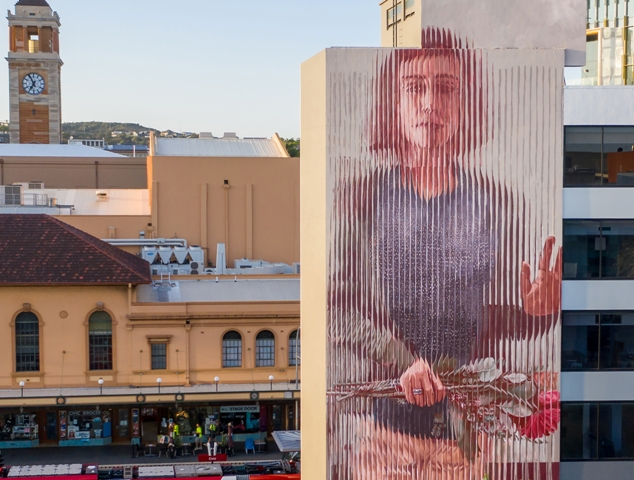 Fintan Magee New mural in Newcastle Australia