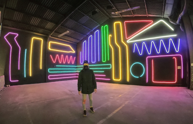 Interactive Neon wall by SpiderTag