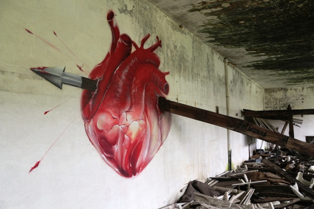 Anamorphic wall by Kas Art in abandoned factory