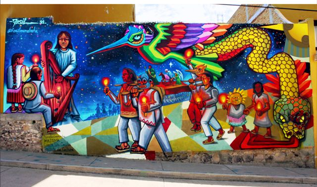 Native Posada inspired mural by artist Fosil