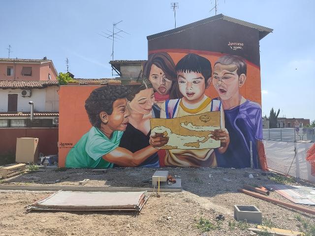 Jupiterfab mural in Milan for Romanino School