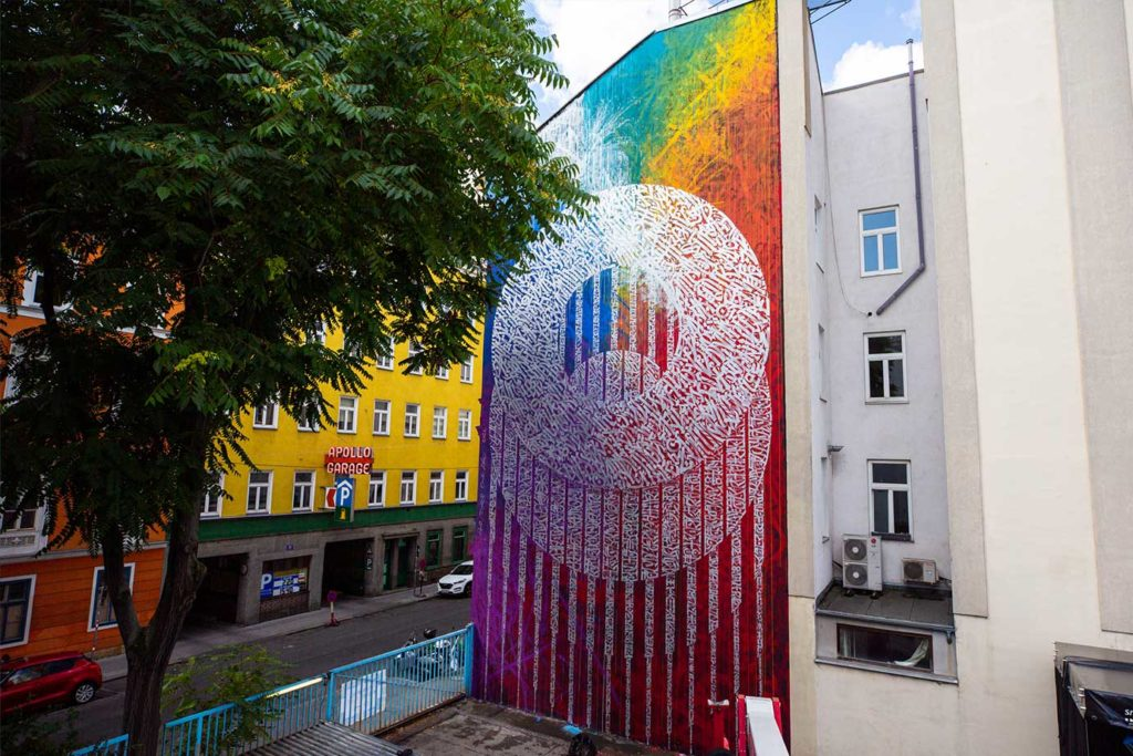 Calligraphy Mural in Vienna by Said Dokins